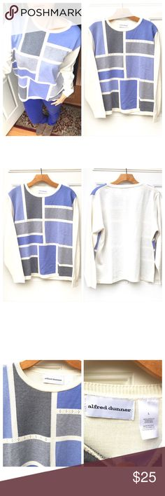 Awesome Vintage Color Block Sweater Just awesome!! Vintage 80's-90's color block long sleeve sweater by Alfred Dunner. 100% acrylic material. Off white with blue and gray colors. Size large but can be worn as boyfriend style sweater by a smaller size. In excellent condition!! Alfred Dunner Sweaters