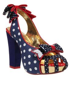 There's something about these shoes. They could be worn with a solid navy or red dress. Irregular Choice Aphrodite Navy and White Polka Dot Pumps with Red Trim Pretty Shoes, Cute Shoes, Me Too Shoes, Awesome Shoes, Fab Shoes, Crazy Shoes, Polka Dot Pumps, Polka Dots, Irregular Choice Shoes