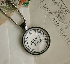 Custom Postmark Necklace : your names or location & special date. Great way to commemorate a special day or place - wedding, birthday, engagement, vacation, anniversary ; by CrowBiz on Etsy