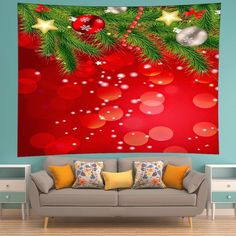 Christmas Tree Baubles Print Tapestry Wall Hanging Art - RED W91 INCH * L71 INCH
