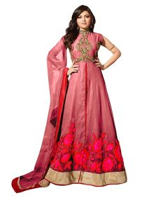 Buy Pink Semi Stitched Net Anarkali Salwar Suit Online at cheap