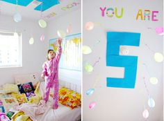 Message on ceiling over child's bed birthday morning :)