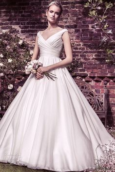Ellis Bridal Wedding a Gown | v crossover neckline buttoned back organza ball gown style 11427