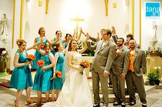 teal and orange!! @Offbeat Bride