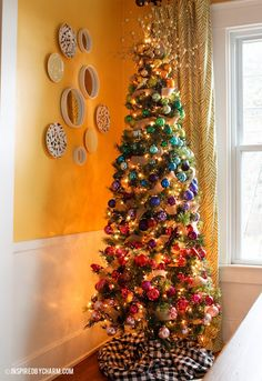 A colorful gradient-inspired christmas tree - stunning! via Inspired by Charm