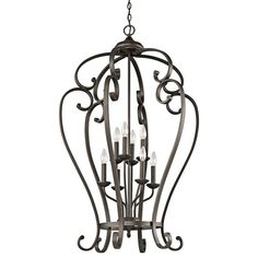 "View the Kichler 43167OZ Olde Bronze Monroe Foyer Chandelier with 8 Lights - 27"" Wide at Build.com."