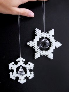 DIY Hama perler snowflake ornaments by frkhansen Hama Beads Patterns, Beading Patterns, Bead Crafts, Diy And Crafts, Christmas Perler Beads, How To Make Snowflakes, Perler Bead Templates, Peler Beads, Iron Beads