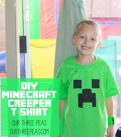 A simple DIY minecraft creeper t-shirt tutorial for your minecraft-obsessed kids!   Our Three Peas #minecraft