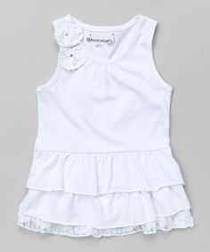 This White Tiered Ruffle Tank - Toddler & Girls is perfect! #zulilyfinds