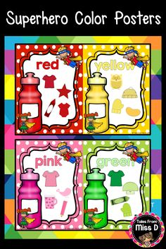 This Superhero Color Posters Pack is perfect as a classroom displaying each Color. Each poster includes the name of the color, images that come in that color and superhero kids clip art. The Color Posters can also be scaled down for student sized flash cards. © Tales From Miss D