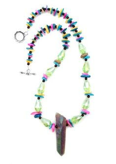 """Natural Pink Blue Yellow Orange Chip Stones with Huge Centerpiece Metallic Crystal Point Pendant and Green Fire Polished Swarovski Crystals One of a Kind 18"""" Necklace Witch and Rich http://www.amazon.com/dp/B00Q3K93TA/ref=cm_sw_r_pi_dp_CZ8jvb0TBG01N"""