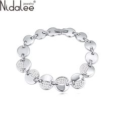 Nidalee 2017 New Design Gold Plated Crystal Zircon Circular Bracelets Bangles For Women Fashion Weddings Party Jewelry gift B582