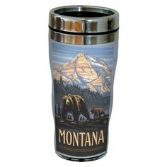 TreeFree Greetings sg23166 Vintage Montana Grizzly Bears by Paul A Lanquist Stainless Steel Sip N Go Travel Tumbler 16Ounce Multicolored ** You can get additional details at the image link.