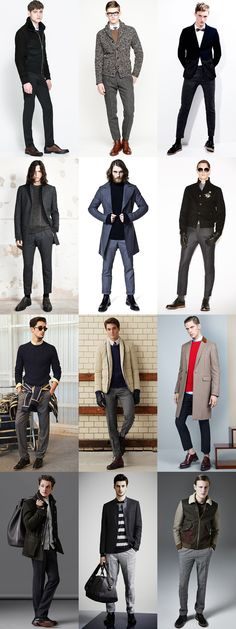 Men's Dark Tailored Trousers Outfit Inspiration Lookbook