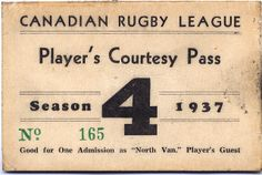Canadian Rugby League, Player's Pass 1937