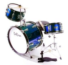 De Rosa DRM316-BU Junior 3 Piece 16 Inch Drum Set with Chair, Blue by De Rosa. $132.53. De Rosa Junior Drum Set is the ultimate drum kit for any young aspiring drummer. This set comes with everything your drummer will need to start playing.  Built using real drum specifications the De Rosa Junior drum set is made using Birch and features authentic metal hardware. The materials used in these sets are equivalent to materials used in higher priced adult Drum Sets sets.  T...
