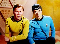 Shatner and Nimoy / Kirk and Spock, For the World Is Hollow and I Have Touched the Sky [.so gorgeous! Star Trek Tv Series, Star Trek Cast, Star Trek Original Series, James T Kirk, Spock And Kirk, Star Trek Images, William Shatner, Live Long, Science Fiction