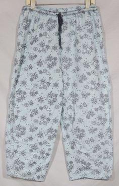 LIZ CLAIBORNE Icy Blue Patterned Pajama Pants Large 100% Cotton Elastic Waist  #LizClaiborne #LoungePantsSleepShorts #Everyday