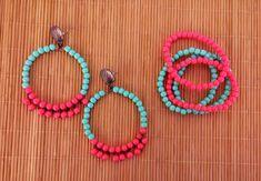 brinco argola + pulseira verde rosa R$ 15,99