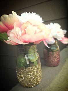 Glitter mason jar centerpieces for baby shower