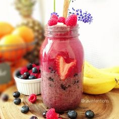 Special kitchen moment today.. You know that phrase Love your food and it will love you back? Well when I poured the top layer of this smoothie parfait into the jar, that strawberry heart just happened! No alterations with kitchen utensils, just pure love   Heres what is in this love potion parfait:  Bottom: blended banana, blackberries, blueberries, ice Middle: whole blueberries, whole blackberries, chopped strawberries Top: blended banana, cherries, strawberries  Sprinkle raspberries and