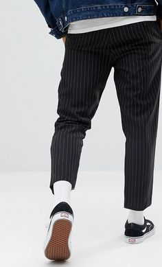 On my wish list : boohooMAN Pinstripe Cropped Trousers In Black from ASOS #ad #men #fashion #shopping #outfit #inspiration #style #streetstyle #fall #winter #spring #summer #clothes #accessories