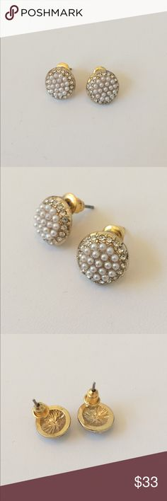 Gold Pearl Stud Earrings COLOR: gold/white  FEATURES: faux pearl/diamond accents; cubic zirconia  CONDITION: NWT  DAMAGE: none Jewelry Earrings