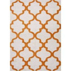 Check out the Jaipur RUG1014 City Hand-Tufted Geometric Pattern Wool Ivory/Orange Area Rug