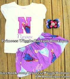 """Frozen Anna """"Sisters Forever"""" Initial Shirt, Skirt & Bow Set. To view more, visit www.facebook.com/PrincessWiggleBottom."""