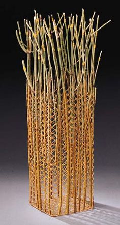"Jill Nordfors Clark, ""Remembering"", 2001' needlelace, hog gut, Forsythia twigs, cotton thread, 15.5 x 6 x 6 inches."