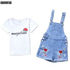 >> Click to Buy << Teenage Girls Outfits Summer Clothing Sets For Girls Tees & Overalls Cotton T-Shirts Denim Rose Flower Jumpsuit Shorts Set #Affiliate