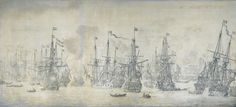 Unsuccessful English attack on the VOC fleet at Bergen, 12 August 1665, by Willem van de Velde the Elder, 1669