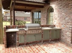 Striking Outdoor Kitchens in Louisiana With Pull Down Stainless Steel Kitchen Faucet And Top Mount Outdoor Kitchen Sink Single Bowl Also Painted Wooden Kitchen Cabinets With Black Round Small Cabinet Knobs