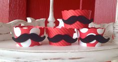Mustache Cupcake Wrappers in Red. $13.00, via Etsy.