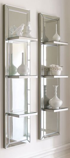 mirror decor Mirrored Shelf Wall Panel - antiqued, beveled galss is framed in silver finished wood. Wall Mirror With Shelf, Mirror Shelves, Wall Mirror Ideas, Mirror Panel Wall, Mirror Collage, Mirror Art, Mirrored Floating Shelves, Bookcase Wall, Mirror Glass