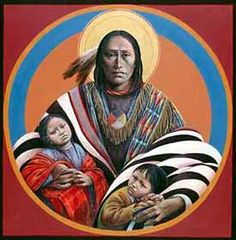By Fr. John Giuliani -Traditional iconography gives witness to the human face of the Sacred. This icon, imaged in the features of America's indigenous peoples, reveals anew that sacred power. It celebrates the soul of the Native American as the original spiritual presence on this continent, and as a prophetic sign, it celebrates the reconciliation of the spiritual vision of Native and Christian peoples of this land.