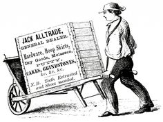 Curious Wheelbarrow Sign Man Image