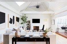 neutral colored living room tall ceilings