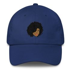 Plush Afro Diva Cotton Cap. This unstructured cotton cap is made in the USA – great choice for keeping cool in the summer.  • 100% cotton  • Unstructured • 6 panel soft crown • Adjustable strap with hide-away side buckle • Curved bill • Spot clean/hand wash  • Made in the USA