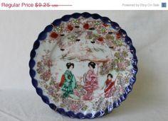 July Sale Vintage Mid Century Hand Painted Geisha Garden Scene Porcelain Japanese Plate