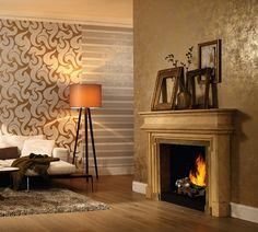 """Passend zur Saison besticht die Kollektion """"La Veneziana 2"""" von Marburg mit ihren Gold- und Kupfertönen. Die metallischen Effekte verleihen jedem Raum einen warmen Charakter - wie Sonnenlicht, das auf goldenes Herbstlaub scheint. Tapeten / Wallpaper"""