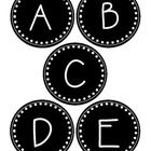Black and white word wall labels. All capital letters A-Z....