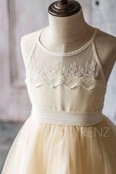 2015 Beige White Junior Bridesmaid Dress Spaghetti por RenzRags