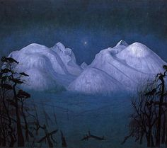 Sohlberg, Harald (1869-1935) - 1911-14 Winter Night in the Mountains (National Gallery, Oslo, Norway) | by RasMarley