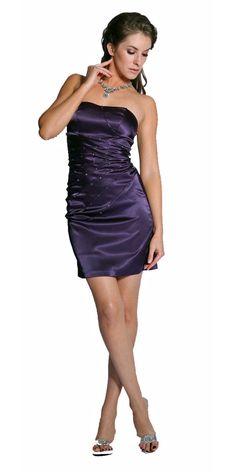 CLEARANCE - Sexy Plum Designer Cocktail Dress Strapless Plum Mini Dress Party