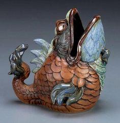Burslem Pottery fish sculpture-437x451