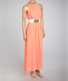 Love this Coral Embellished Maxi Dress - Women by Farinelli on #zulily! #zulilyfinds