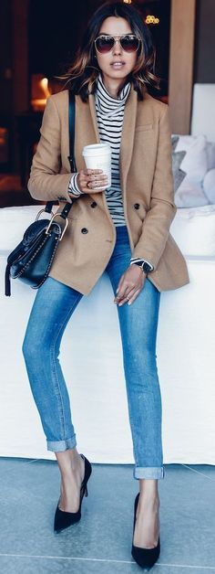 Camel Blazer On Stripes Fall Street Style Inspo by Vivaluxury Like the color combo - really like the striped turtleneck