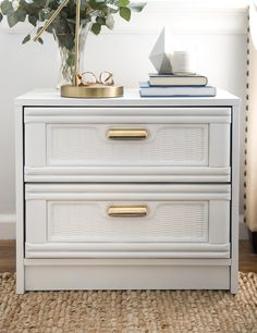 White Nightstand Makeover