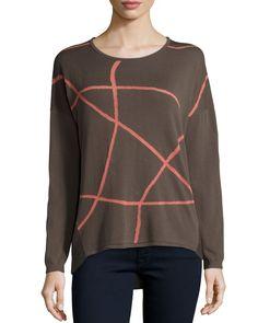 Long-Sleeve Two-Tone Sweater, Granite/Multi, Women's, Size: XX-LARGE, Granite Multi - Lafayette 148 New York